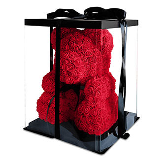 Мишка из роз 70 см красного цвета