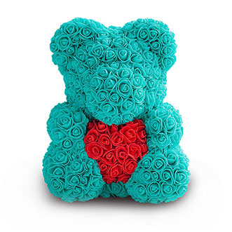 Мишка с сердцем цвета Тиффани